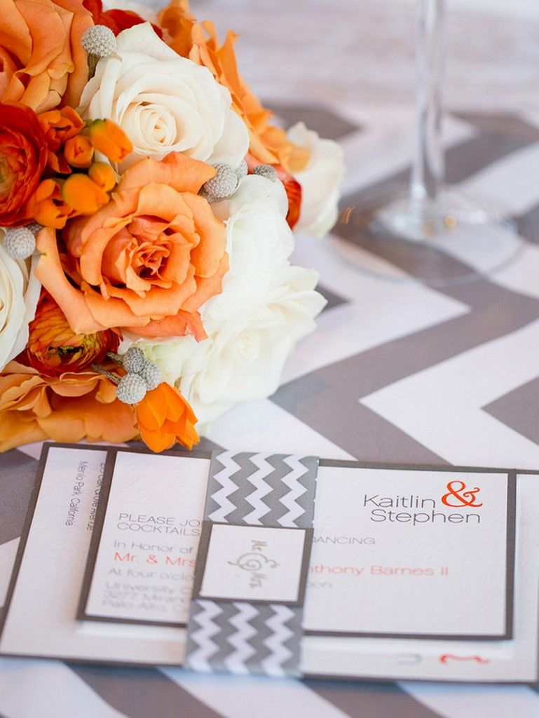 Orange and Grey Wedding by Portrait Design by Shanti | Grey weddings ...