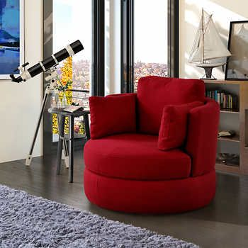 Bon Benson Red Swivel Chair With Storage  Costco