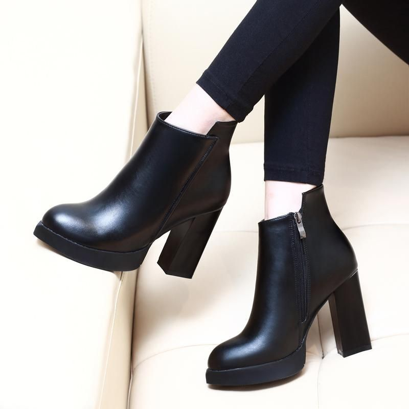 7cf825a28c6 Pointed Toe Square High Heel Women Ankle Boots Verkadi.com