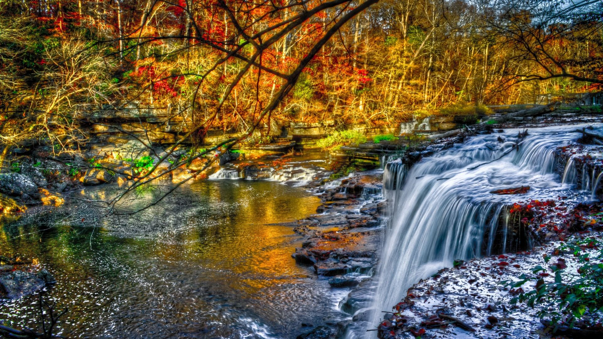 Colorful Waterfall Wallpaper Background