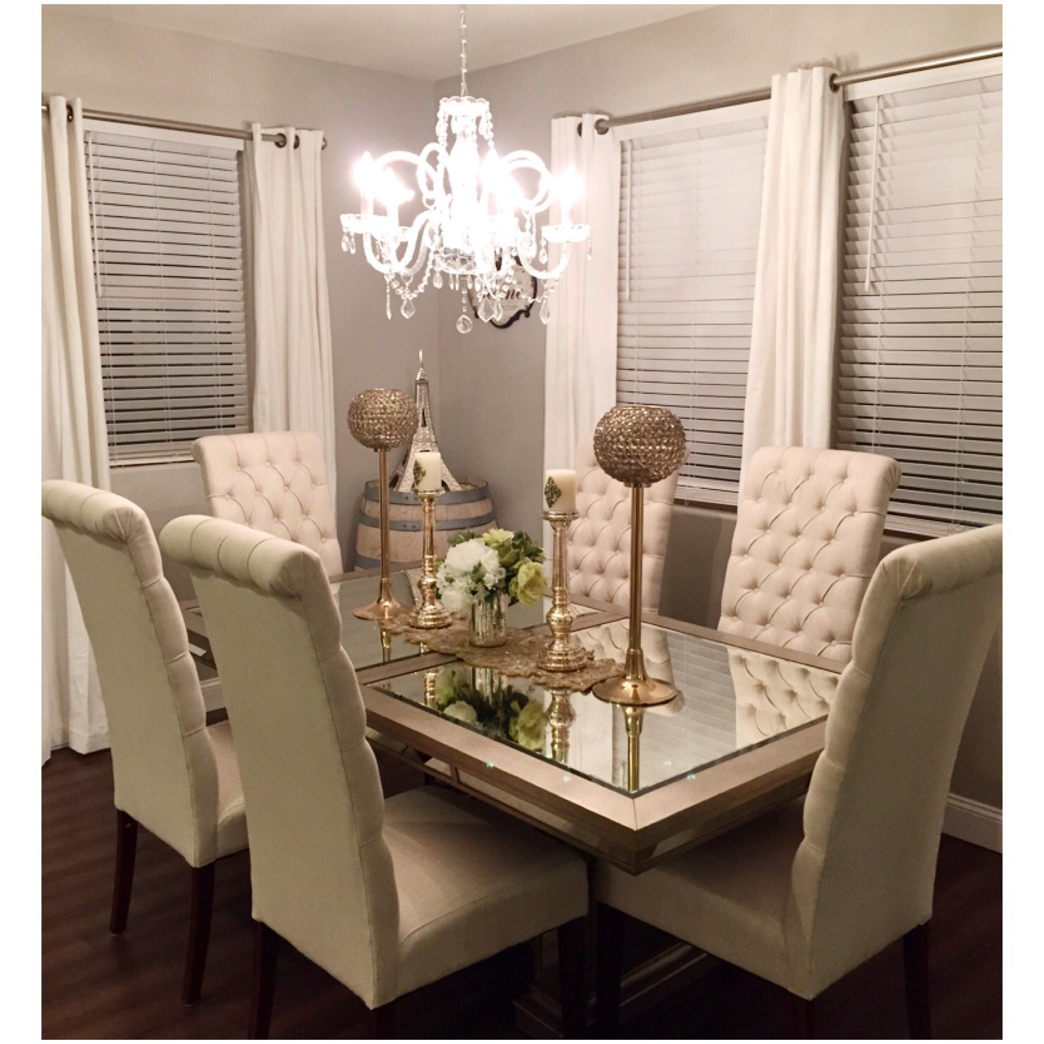 Dining room glass table tall chairs tufted cream paris ...
