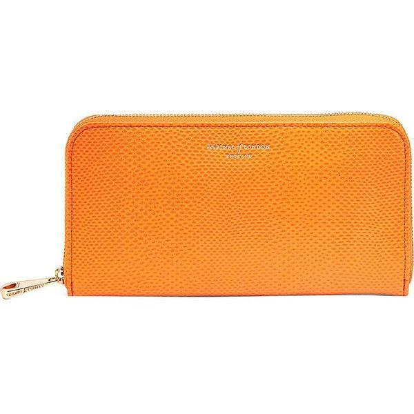 ASPINAL OF LONDON Continental clutch lizard-embossed leather wallet ($195) ❤ liked on Polyvore featuring bags, wallets, orange, embossed wallet, real leather wallet, orange leather wallet, leather wallet and orange leather bag