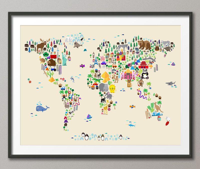 tier-karte von der weltkarte für kinder und kinder, art