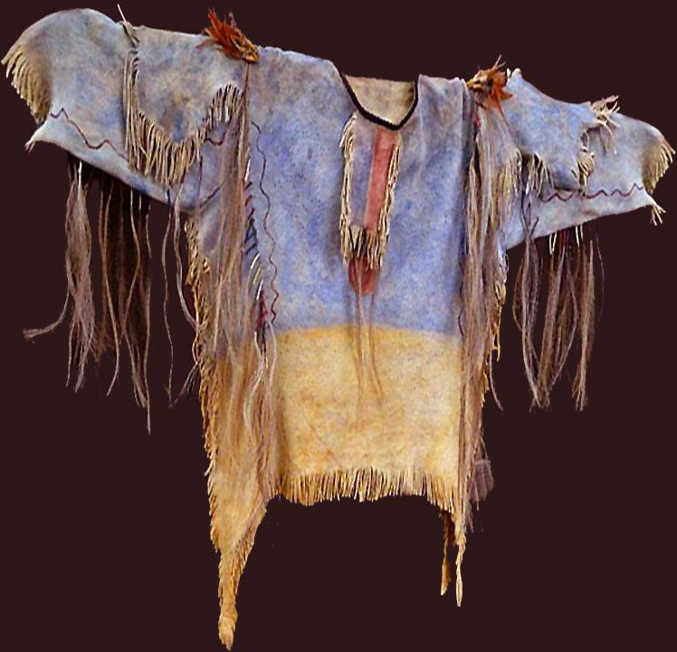 Shirt is loosely based on the Lakota war shirt presented by Little Big Man, who said it allegedly had once belonged to Crazy Horse, or that it had at least been worn by him. According to family history however, the shirt cannot have belonged to the great Lakota chief, who never kept scalps he took in war but instead left them upon the ground