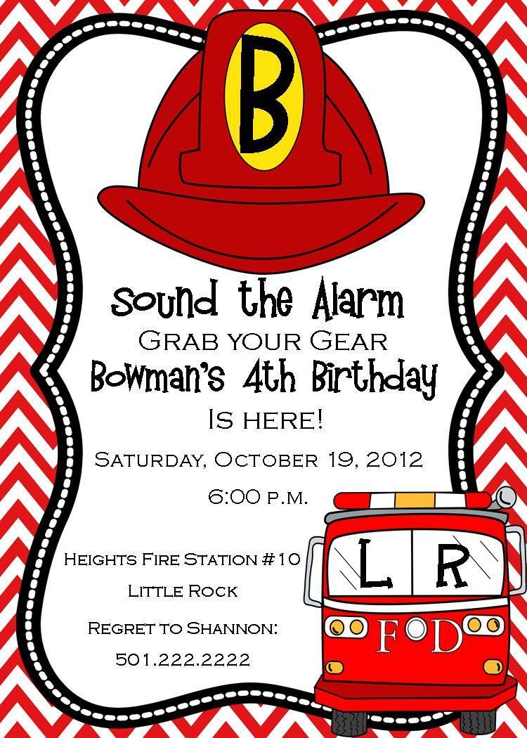 Fireman Birthday Invitation- Digital. $14.50, via Etsy.   GREAT ...