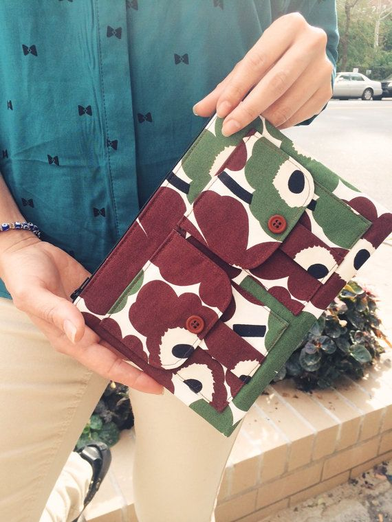 Brown and Olive Floral Wallet Wristlet, Brown Wristlet Wallet, Marimekko Bag Wristlet, Marimekko Fabric Wristlet Purse, Dorothy Wristlet