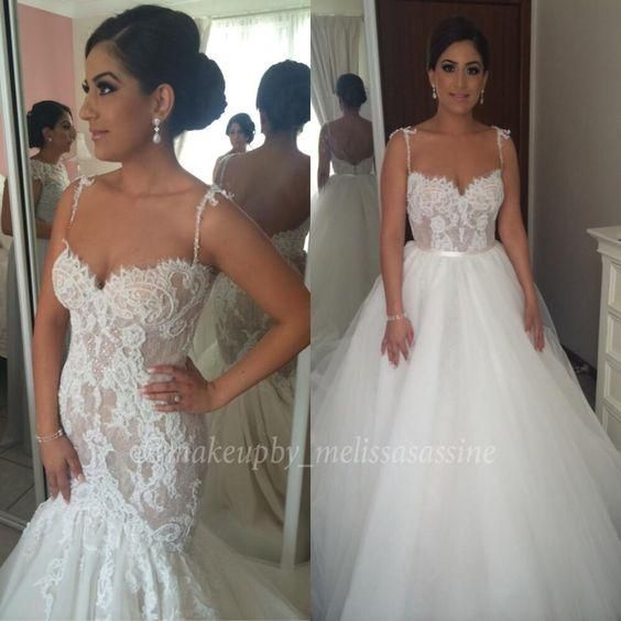 Steven Khalil Cute Two Pieces Mermaid Wedding Dresses 2016 Lace Tulle Detachable Skirt Trumpet Spaghetti Bridal Gown Dress Body Type