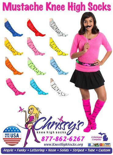 Mustache Knee Socks in over 10 different colors