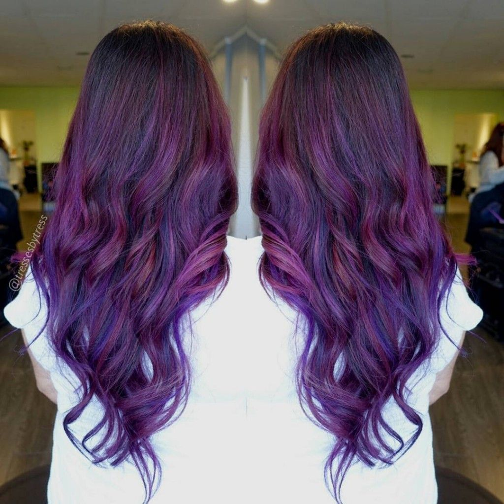 Picture of black and magenta balayage hair - Purple Grape Balayage Baby More Hair Styles Like This