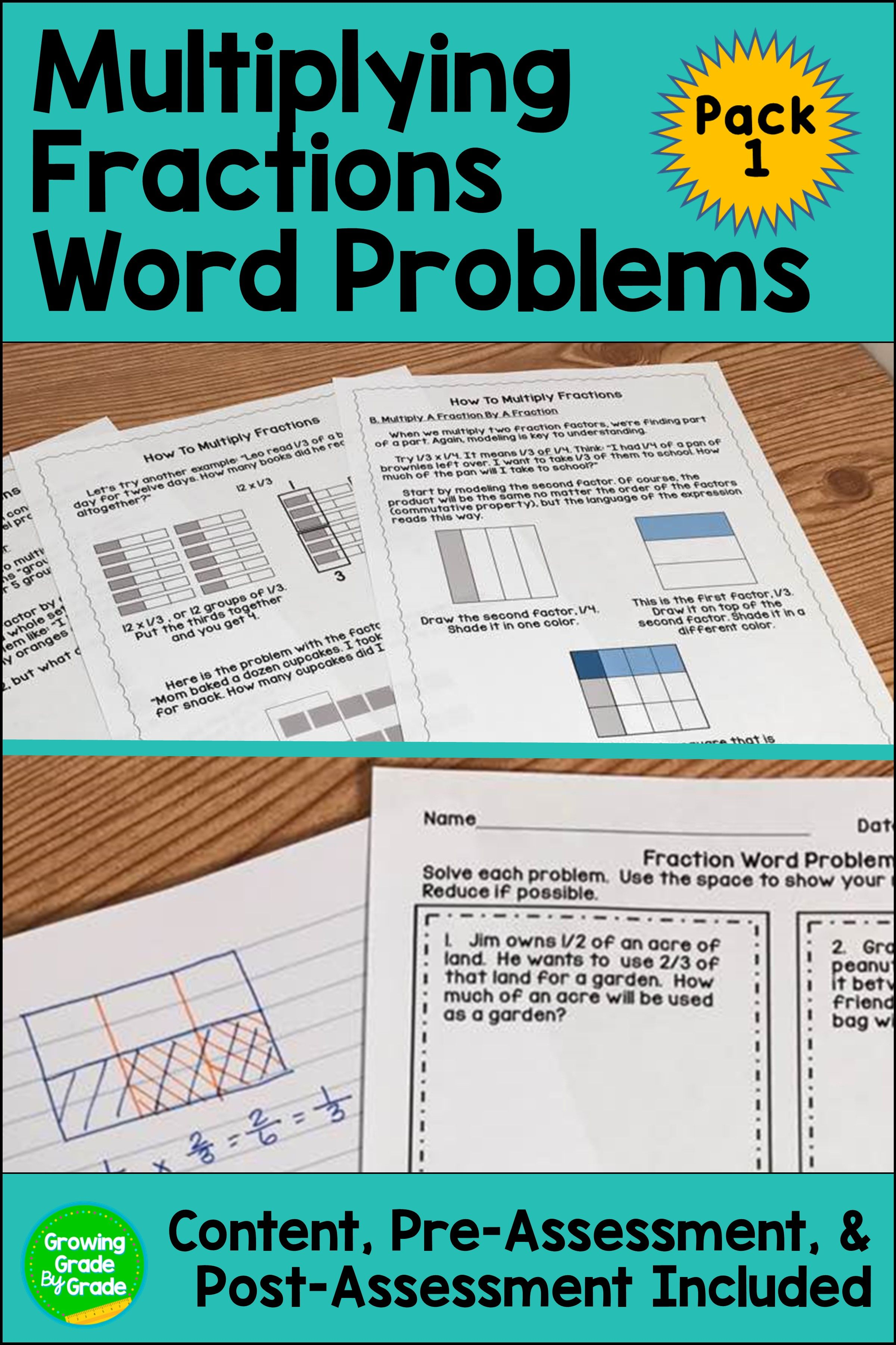 Multiply Fractions Word Problems | Pinterest | Fraction word ...