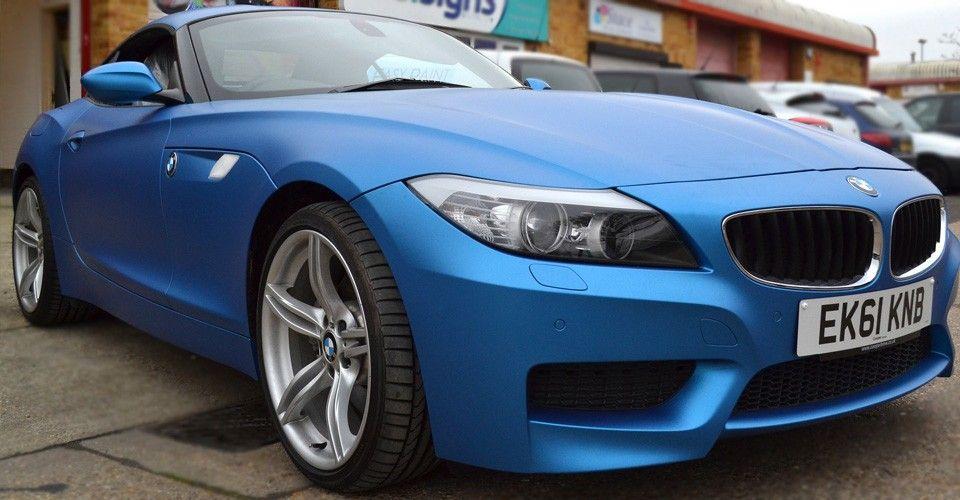 Z4 Wrapped Matt Metallic Blue Bmw Bmw Z4 Mercedes Benz