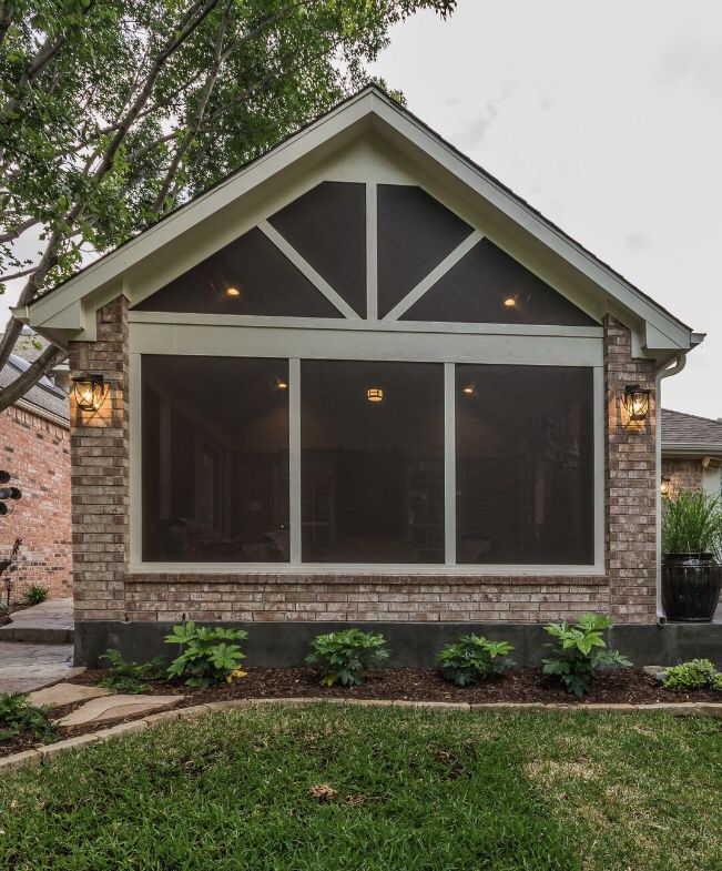 Screened Porch And Garage Oasis: Gable Roof Screened In Patio Cover