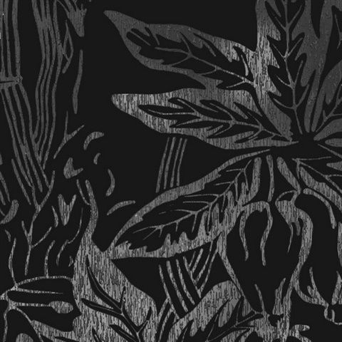 Hothouse Black Silver Metallic Silver Tropical Leaves On A Matte Black Background Lead Time 7 Black And Silver Wallpaper Wallpaper Matte Black Background