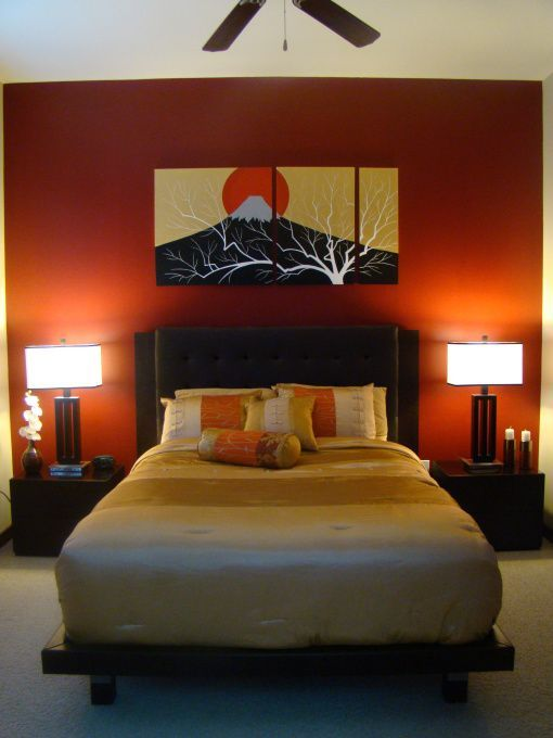 Japanese Zen Bedroom: White Ceiling Orange Paint Wall Zen Bedroom Ideas With