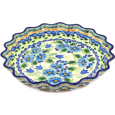 Polmedia Polish Pottery 10inch Stoneware Fluted Pie Dish H7073d Hand Painted From Zaklady Ceramiczne In Boleslawiec Pol Polish Pottery Pottery Polish Stoneware