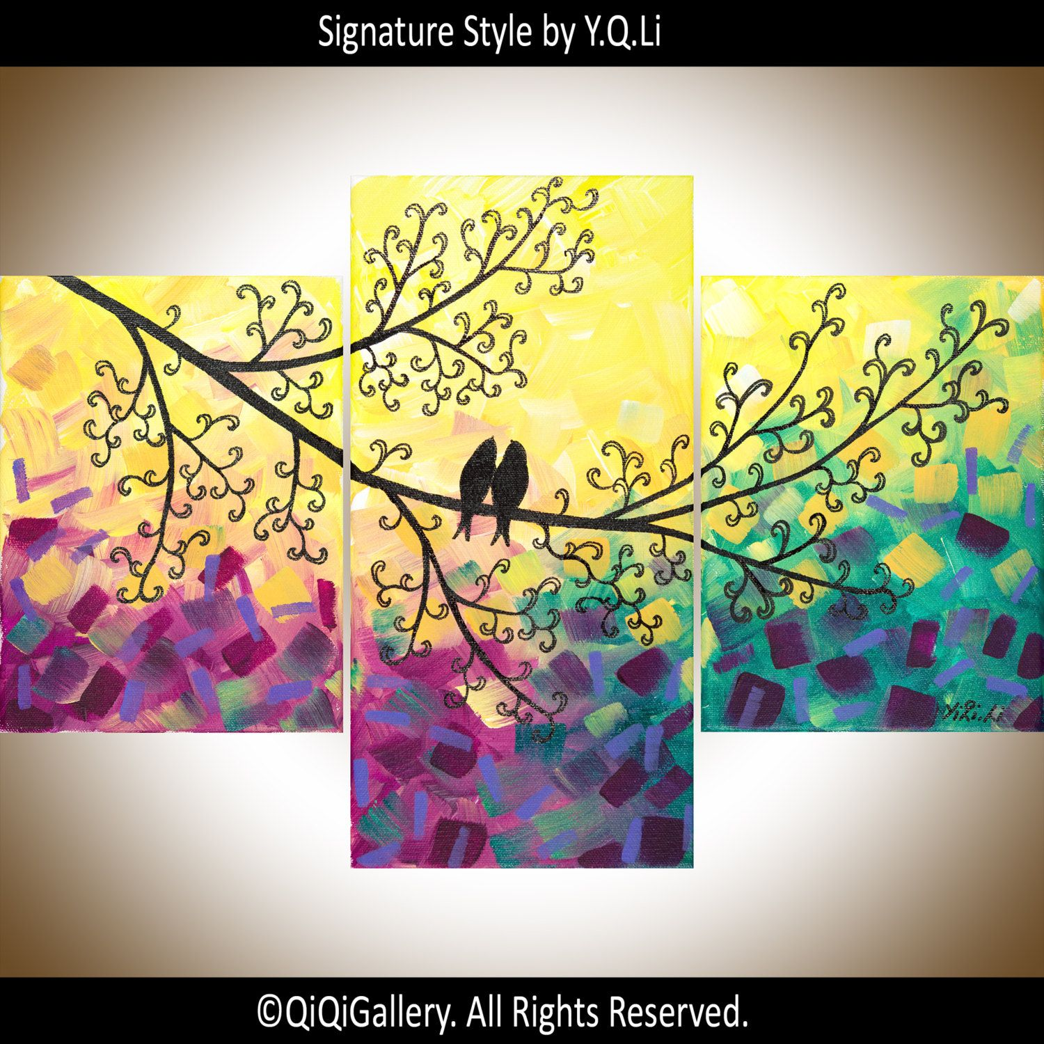 Purple yellow wall art set of 3 painting love birds art gift for ...