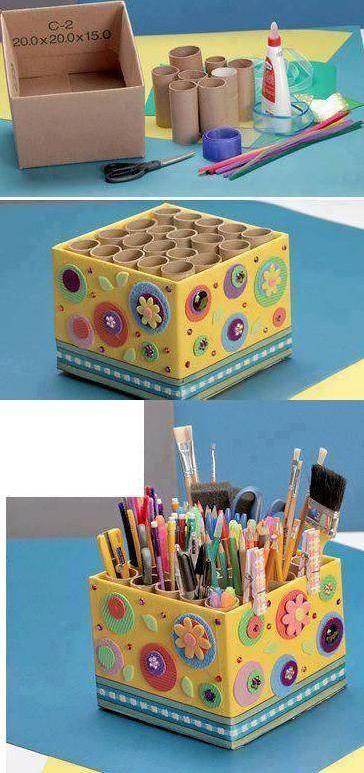 Organizador De Plumones Colores Crayones Etc Con Una Caja Y Rollos De Papel De Baño Increíble Manualidades Recicladas Manualidades Creativas Manualidades