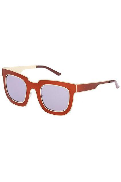 ROMWE Gold Rim Red Square Sunglasses