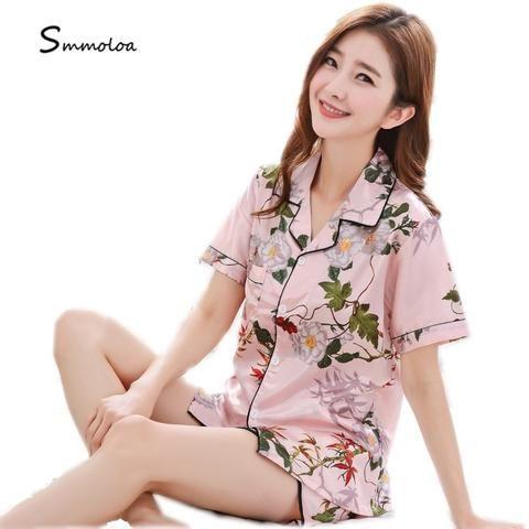 e87e69c861 Smmoloa Women Floral Print Silk Pajamas Short Sleeves Pyjama Set Satin Women  Sleepwear