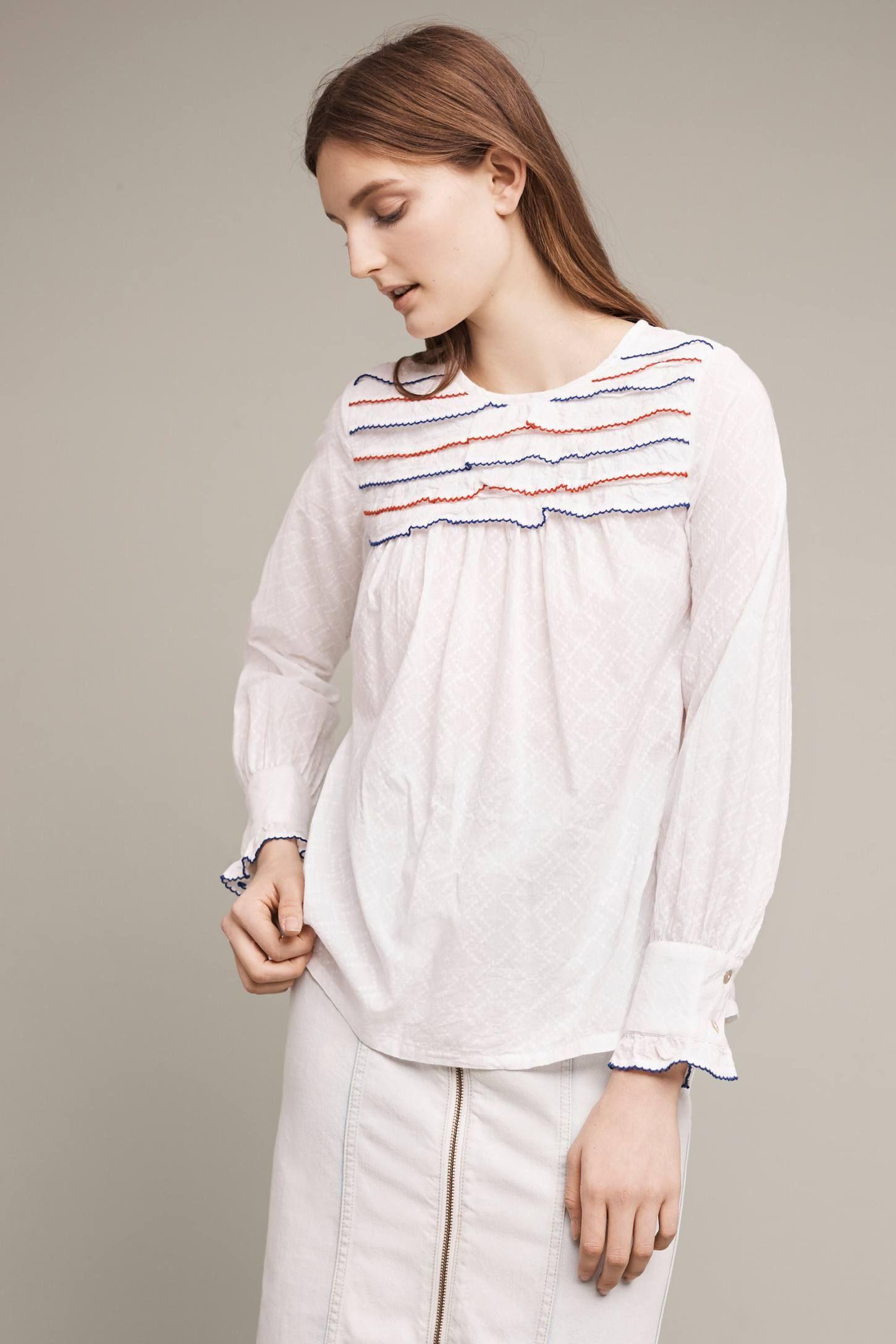 Slide view ruffled bib blouse fashion u styles pinterest