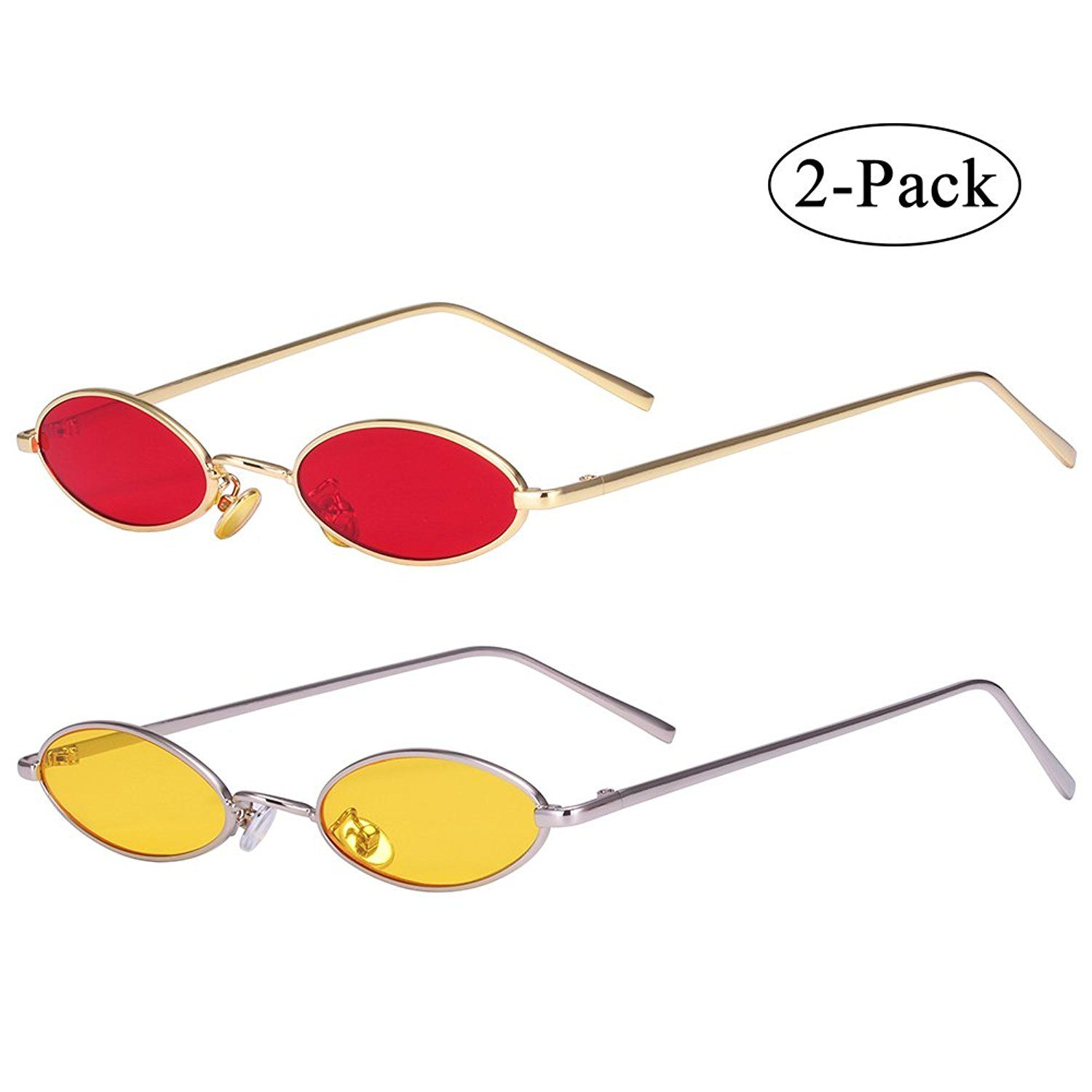 07018012ff AOOFFIV Vintage Slender Oval Sunglasses Small Metal Frame Candy Colors …
