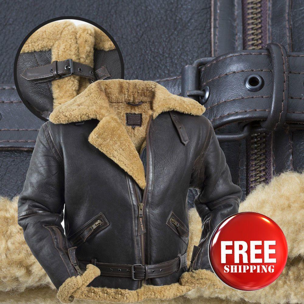 B3 RAF Bomber Combat Real Biker Leather Fur Shearling Men/'s Stylish Brown Jacket