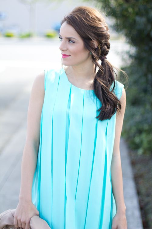 French braid into side pony tail- Gal Meets Glam