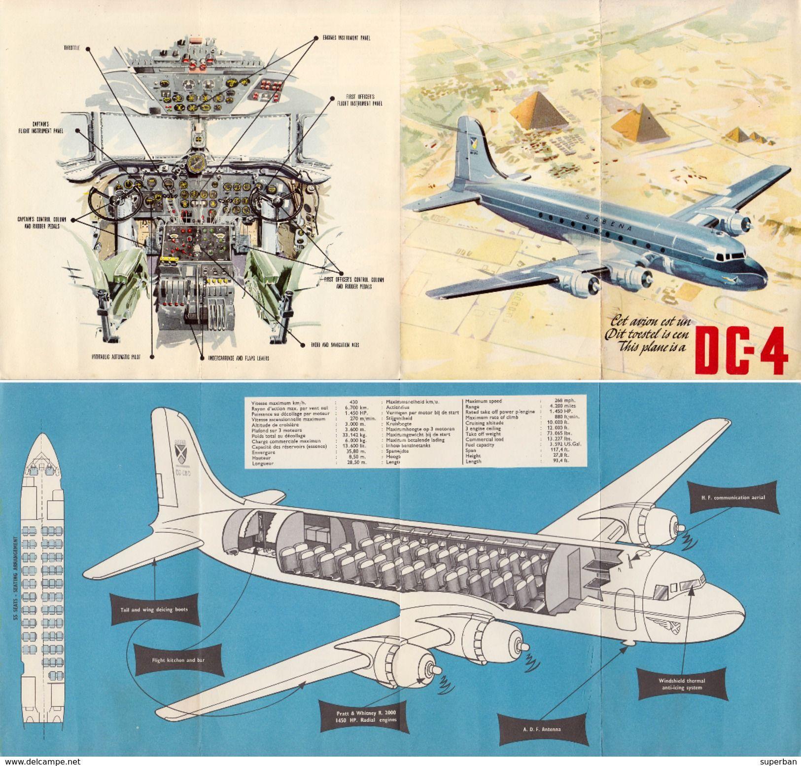 AVIATION CIVILE : DÉPLIANT PUBLICITAIRE : SABENA - AVION DOUGLAS DC ...