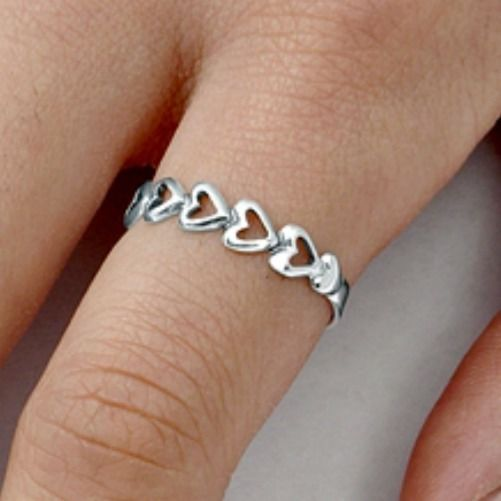 .925 Sterling Silver Ring size 4 Heart Midi Knuckle Fashion Kids Ladies New bb51 #Unbranded #Band