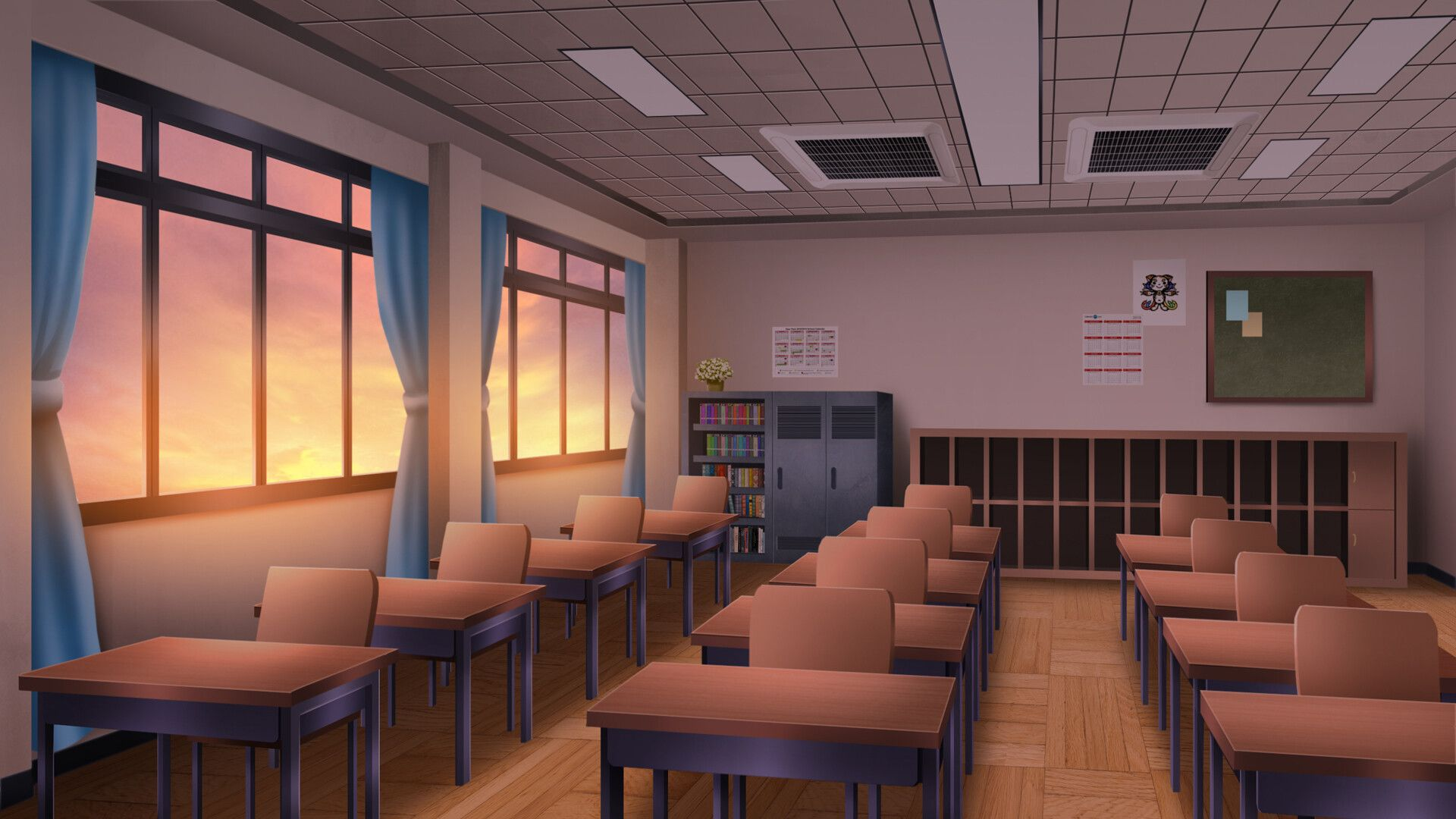 Artstation Classroom Visual Novel Bg Duy Tung Anime Classroom Anime Backgrounds Wallpapers Anime Scenery Wallpaper