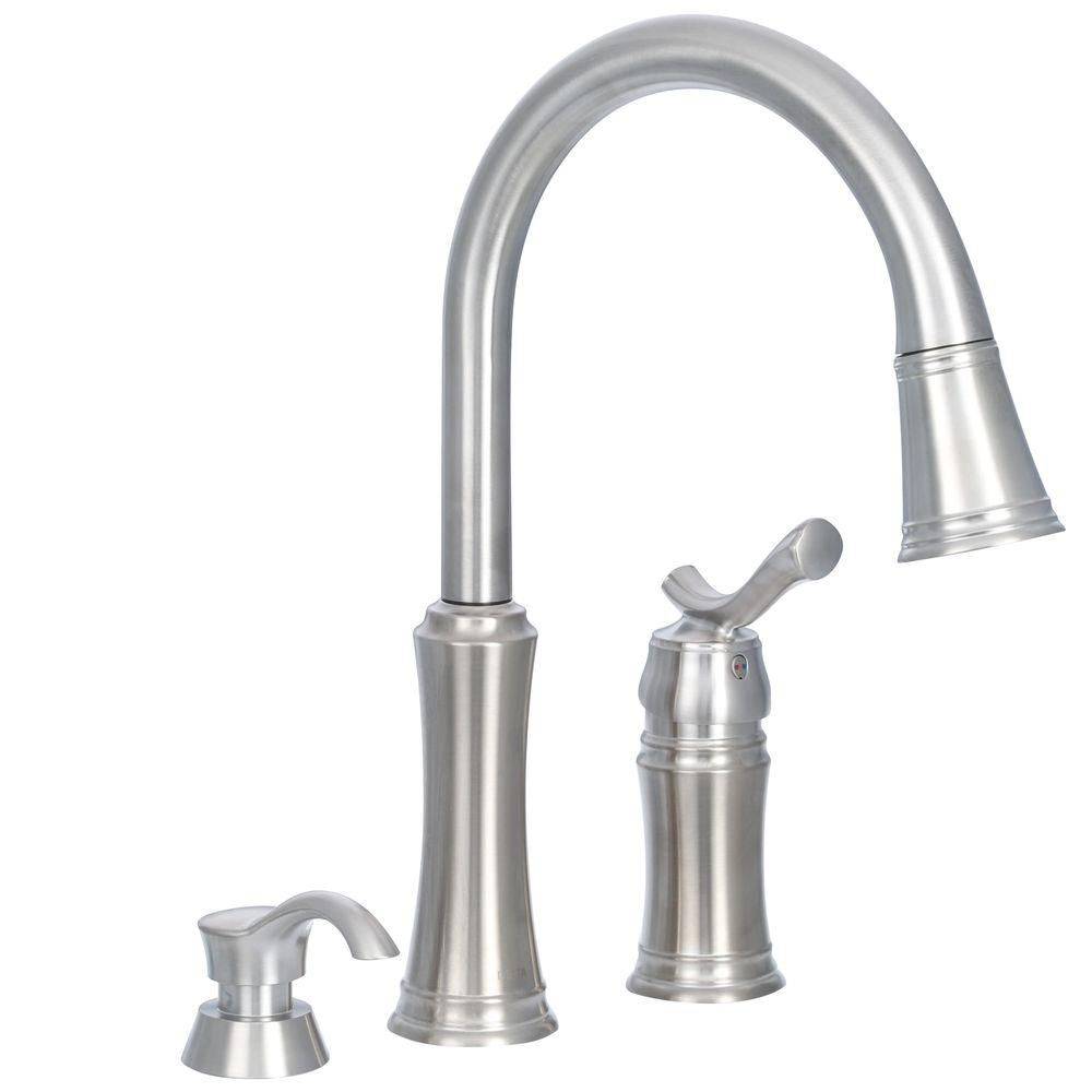 Delta Lakeview Single Handle Pull Down Sprayer Kitchen Faucet With Soap Dispenser In Stainless 59963 Sssd Dst Faucet Kitchen Faucets Pull Down Soap Dispenser