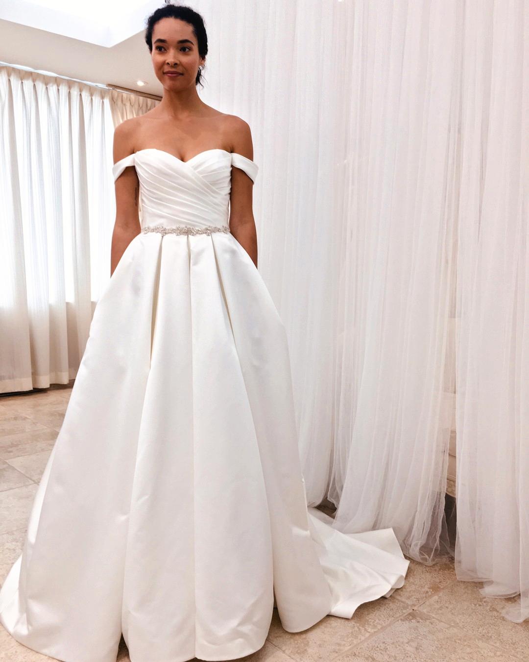 Draped Sleeve Ball Gown Wedding Dress Style 2243 Mikaella