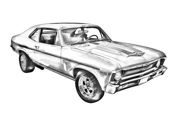 1969 Chevrolet Nova Yenko 427 Muscle Car Illustration Fine Art