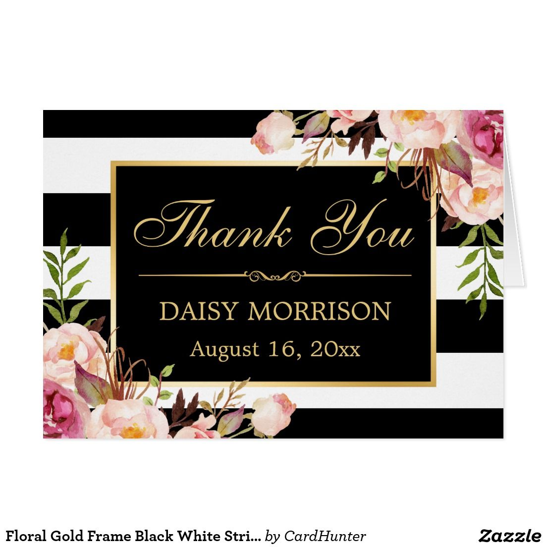 Floral Gold Frame Black White Stripes Thank You Weddings