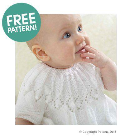 Patons Royal Baby Dress Free Pattern | Deramores | Canesús, pecheras ...