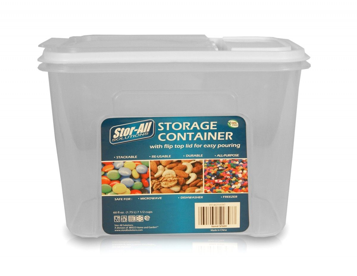 Stor-All 2 Pack Plastic Food Storage Dispenser Container 7.5 Cup BPA ...