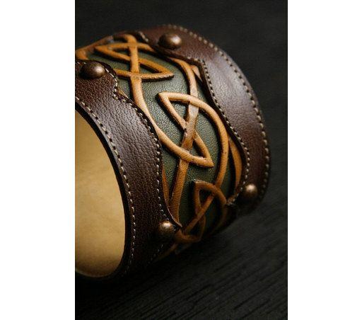 "Leather Cuff, Leather Bracelet: leather cuff with a celtic design ""Celtic Dara Cuff"", $75.0"