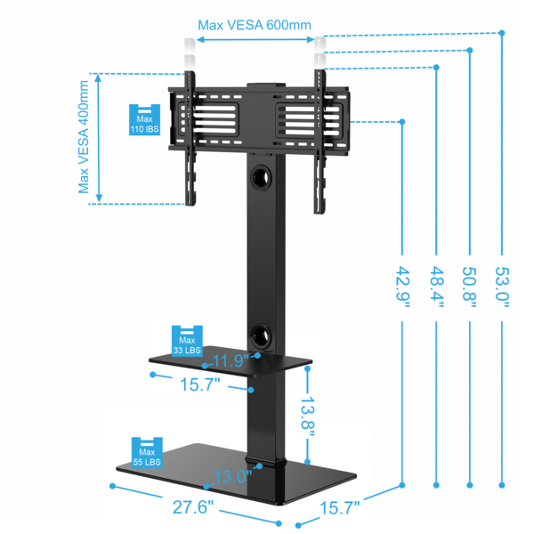 Tv mount for 65 inch tv Altra Galaxy Height Adjustable Floor Tv Stand With Universal Swivel Bracket Mount And Two Av Shelves For 32 To 65 Inches Plasmalcdled Tvstt207001mb Pinterest Height Adjustable Floor Tv Stand With Universal Swivel Bracket Mount