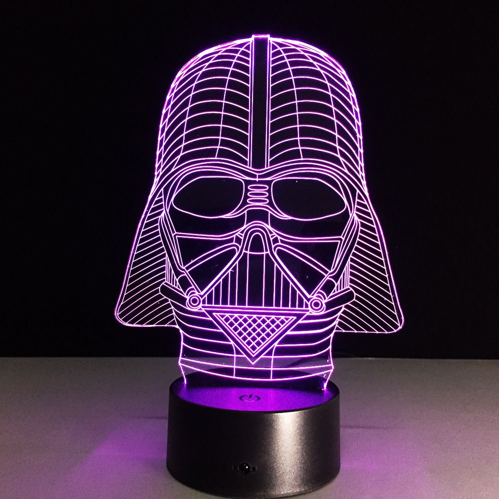New Action Figure 7colors Black Knight 3d Visual Led Night Lights For Kids Friends Star War Fans As Bedroom Table Desk Veilleuse Led Lampe Star Wars Veilleuse