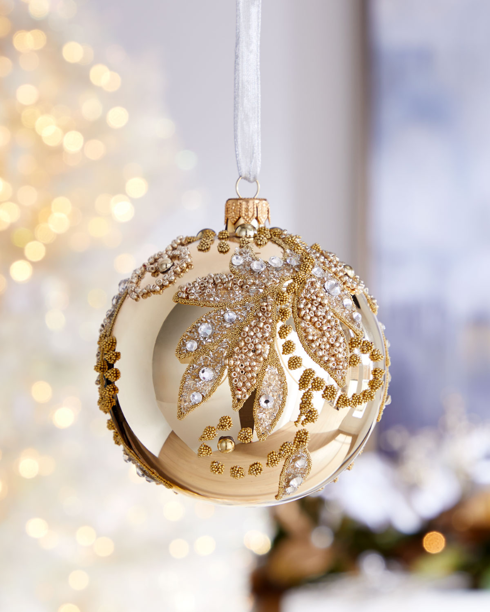 Champagne Ball With Beaded Leaves Christmas Ornament Christmas Door Decorations Christmas Ornaments Glass Christmas Tree Ornaments