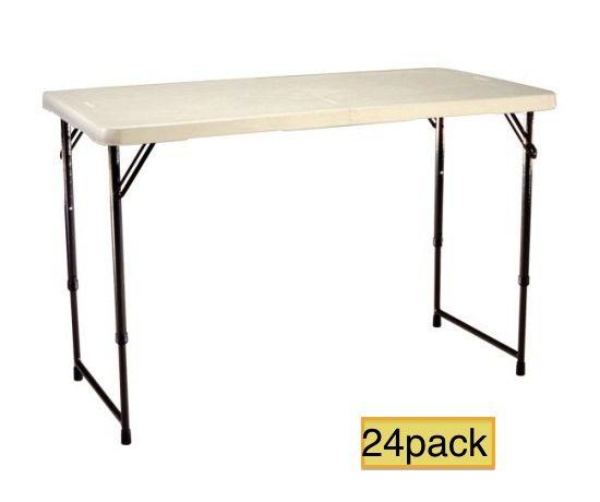 Lifetime Adjustable Tables 4429 Fold In Half Almond Tables 24 Pack Adjustable Table Adjustable Height Table Lifetime Tables
