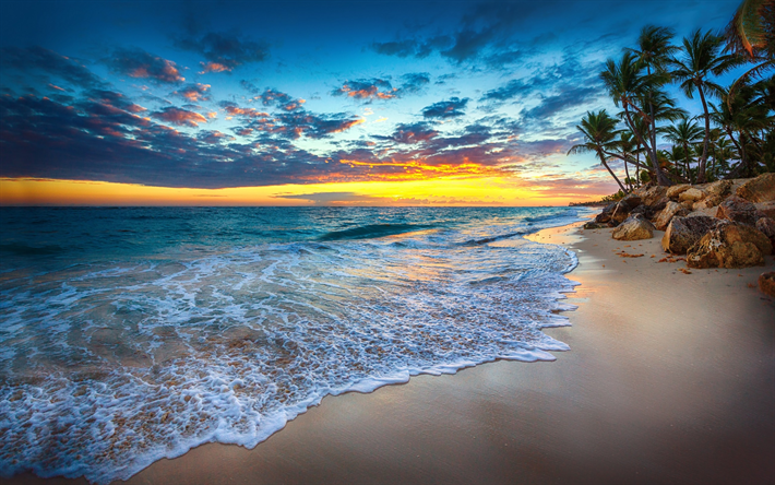 Download Wallpapers Tropical Islands Ocean Golden Sunset Beach Palm Trees Waves Besthqwallpapers Com Puesta De Sol Playa Salida Del Sol En La Playa Atardecer En La Playa
