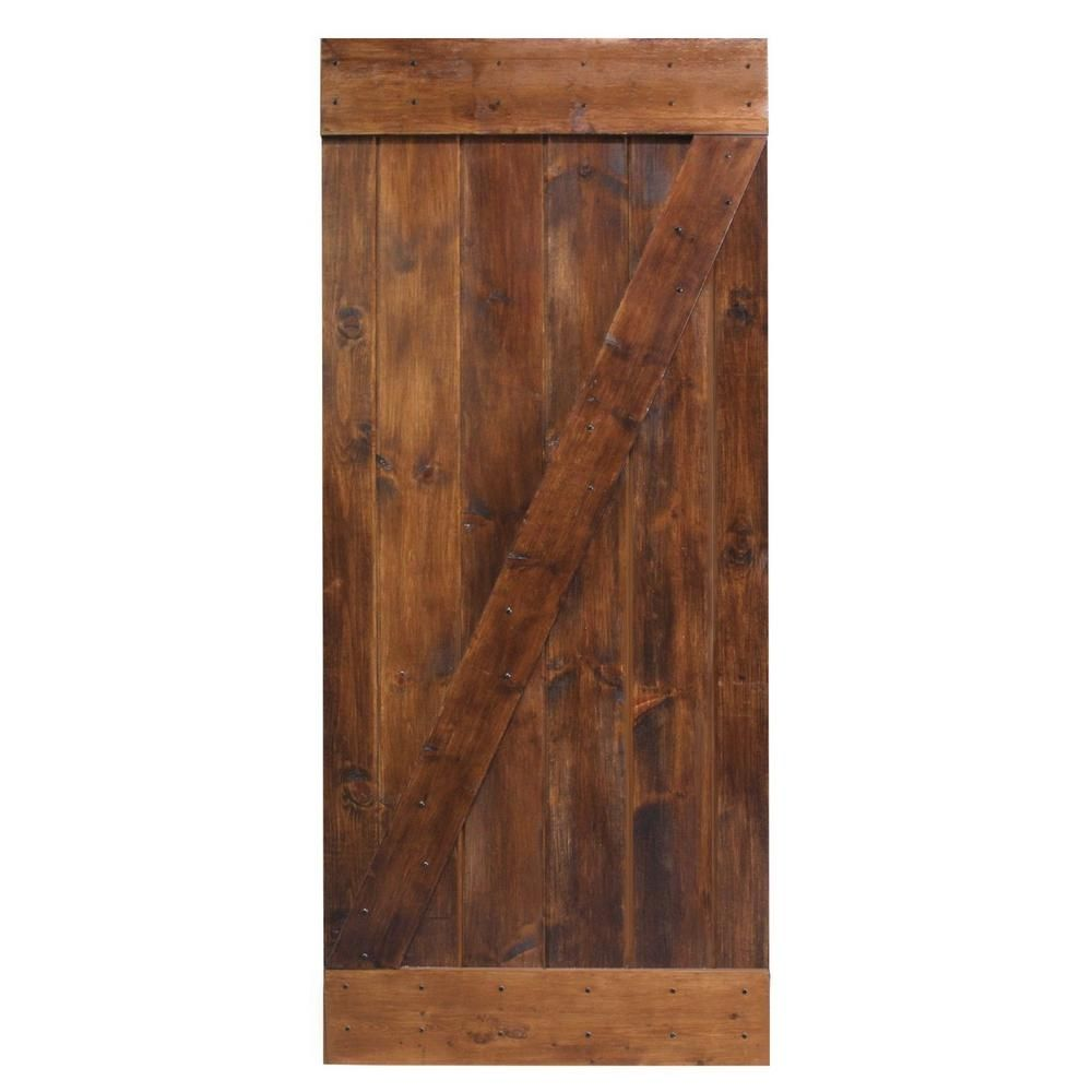 Delicieux Create An Excellent Conversation Piece In Your Home With The Help Of This  CALHOME Dark Coffee Knotty Pine Sliding Barn Wood Interior Door Slab.