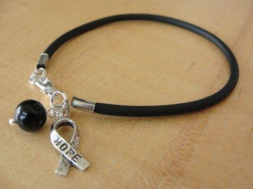 Black Awareness Bracelet Hope Ribbon Melanoma