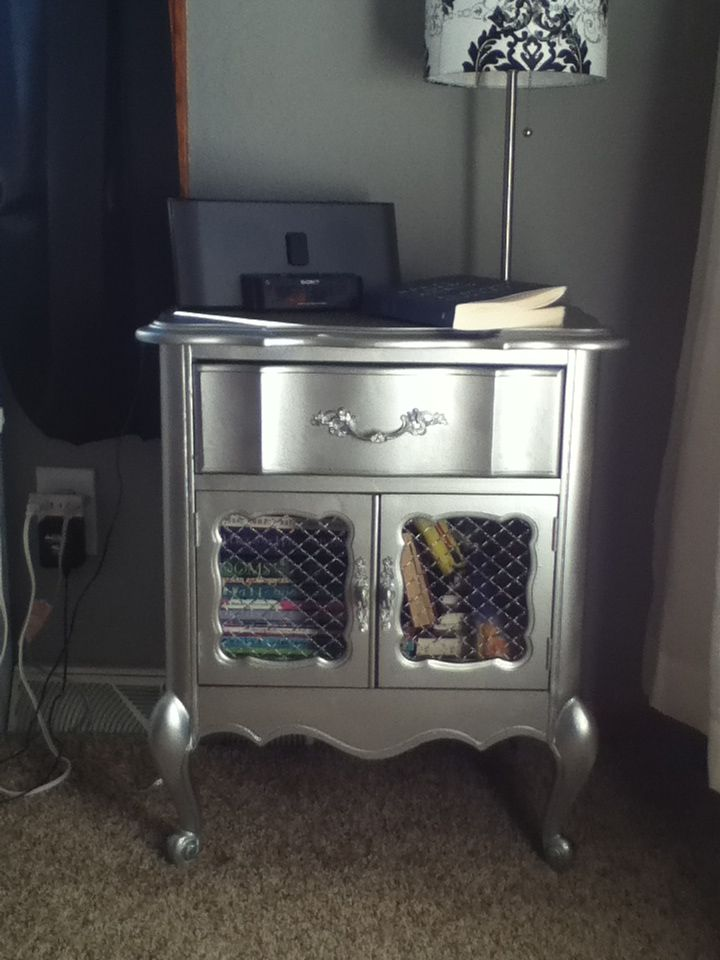 Some Chrome Spray Paint On An Old Night Stand And Bam Love Silver Pinterest Chrome Spray