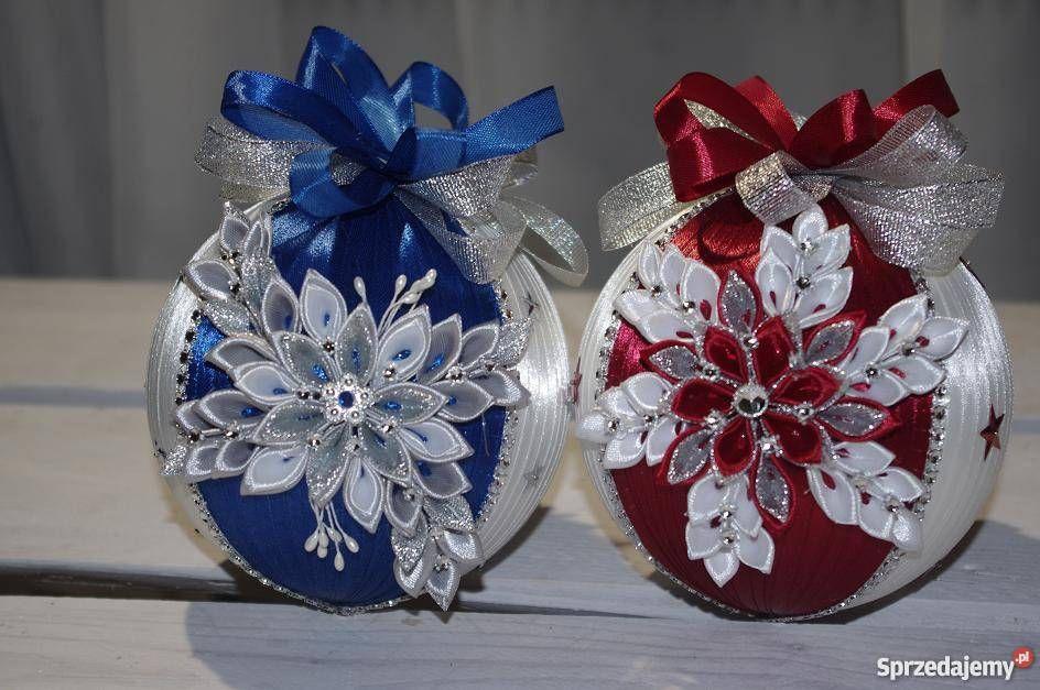 Bombki Ze Wstazki Kanzashi Handmade Rekodzielo Fabric Christmas Ornaments Fancy Christmas Ornaments Handmade Christmas Ornaments
