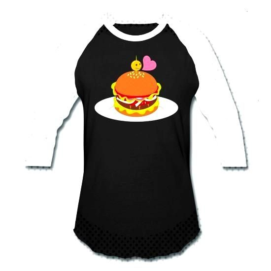 Unisex Baseball T-Shirt Hamburger Play ball! Take to the field or the classroom in this classic con