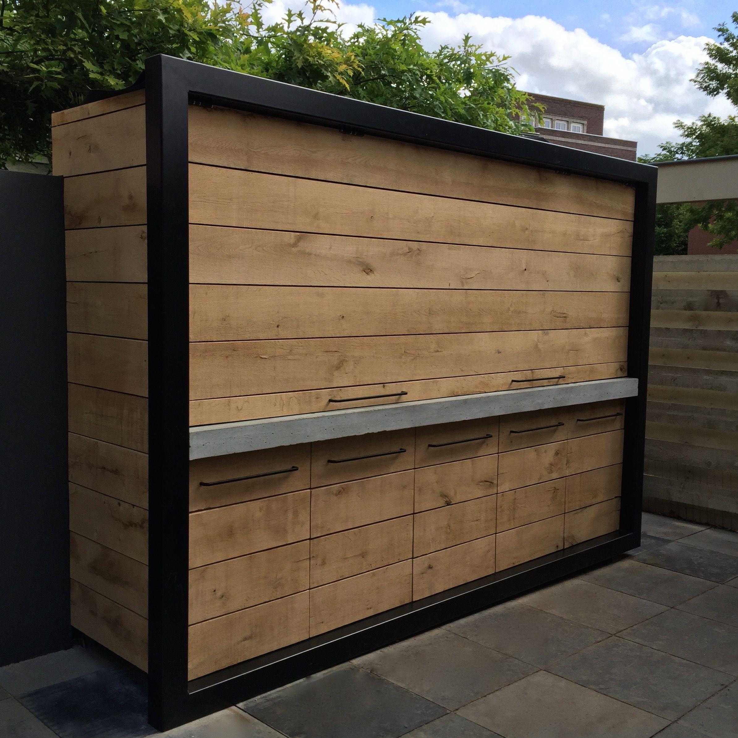 buitenkeuken eikenhout beton en staal ontwerp