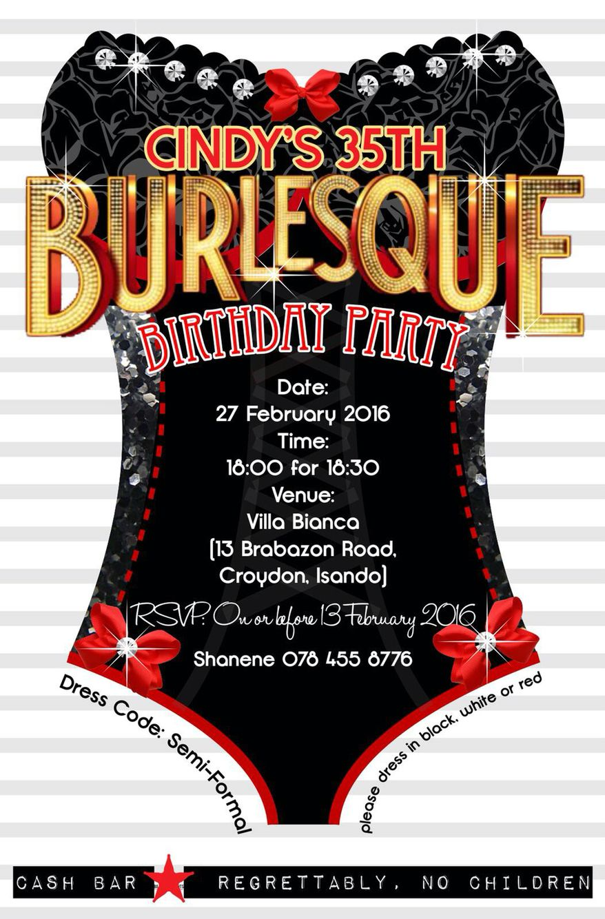 Burlesque Invitation Cindy Birthday | Birthday party ideas ...