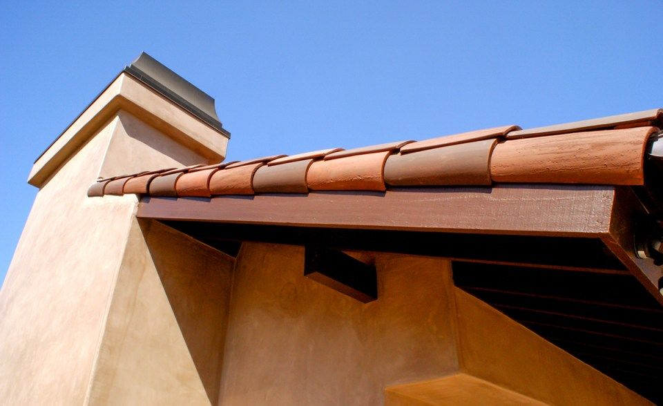 Gable Detail Of Classic S Mission Clay Roof Tile With 2 Piece Eave Line In 1 3 B330 R Old Santa Barbara Blend 1 3 2f45 S Clay Roof Tiles Clay Roofs Roof Tiles